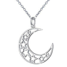 925 Sterling Silver Moon & Star Necklace NEW USA Silver Crescent Moon Pendant