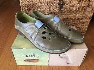 Naot Rangi Leather Slip On Olive Jade Green Size 40 US 9-9.5 Women's NEW