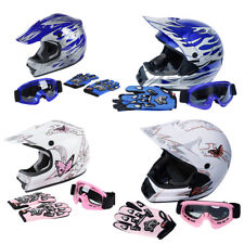 TCMT DOT Adult/Youth Kids Motocross Helmet Goggles Gloves White Pink/Blue Flame