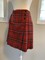 RUFF HEWN sz.10 School girl Geek Grunge Plaid Kilt Skirt pleated wrap skirt