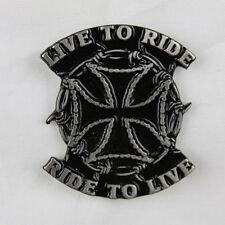 Biker Moto Chopper Iron Cross Croce LIVE TO RIDE PIN SPILLA SPILLA