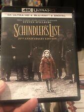 Used Schindler's List 4K & Blu-ray Steven Spielberg 25th Anniversary No Digital