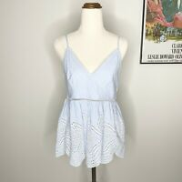 Forever New Striped Broderie Top Size 8 Blue White Cotton V Neck Strappy