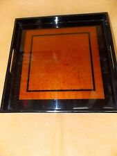 SERVING TRAY- SOLID WOOD -SQUARE  - LACQUER-BLACK + ORANGE+ FLOWERS DESIGN