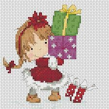 Cross Stitch Chart - Christmas Girl and Presents   ideal card size FlowerPower37