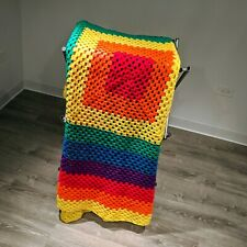 Rainbow afghan Lgbt Multi Color Handmade Knight Throw Blanket