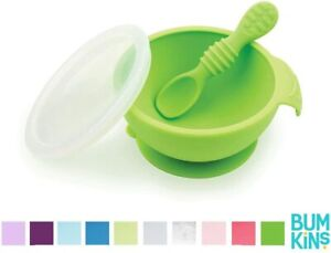 Bumkins Baby First Feeding Set with Bowl, Spoon and Lid - GREEN