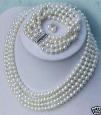 Charming 4 Rows White Pearl Necklace &bracelet& Earring