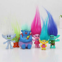 6 Trolls Hasbro Dreamworks Movie Action Figures Doll Figurines Kids Play Set Toy