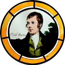 STAINED GLASS WINDOW ART - STATIC CLING  DECORATION - ROBERT BURNS PORTRAIT