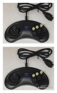 2 X CONTROLLERS GAMEPAD FOR SEGA MEGADRIVE 1 & 2 BRAND NEW 85cm LEAD MEGA DRIVE