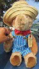 "VINTAGE 15"" PADDINGTON TEDDY BEAR EDEN TOYS 1975 PERU ENGLAND STRAW HAT BANDANA"