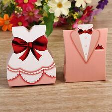 50Pcs Rosa Braut Bräutigam Smoking Kleid Hochzeit Süßigkeiten Geschenk-Box