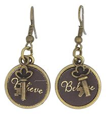 Earrings, by Monarch Inspirations Believe Genuine Leather Medallion