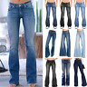 Womens Stretch Denim Flared Jeans Bootcut Pants Casual Loose Wide Leg Trousers