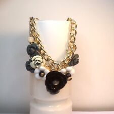 STATEMENT NECKLACE GREY AND BLACK STONE AND METAL GOLD CHUNKY CHAIN GIFT FOR HER