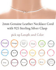 2mm Genuine Leather Necklace Choker 14-28 ""