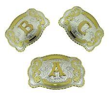 Initial Belt Buckle Texas USA Rodeo Western Cowboy Monogram Letters Alphabet Men