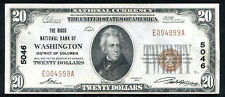 1929 $20 THE RIGGS NB OF WASHINGTON, D.C. NATIONAL CURRENCY CH #5046 UNC (N)