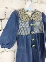 Vintage Denim Tiny Tots Baby 18 Months Romper Chambray Lace Embroidery Flowers