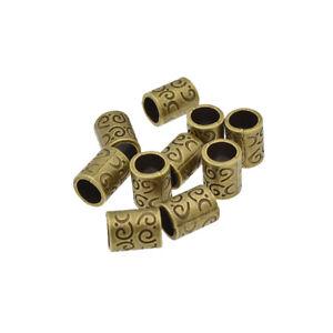 10 Pcs Bronze Hair Braid Rings Cylinder Dreadlock Hair Beads Jewelry Accessories