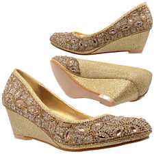 Wedge Dress Shoes Slip On Pumps Rhinestone Jewel Women's Gold Shoes
