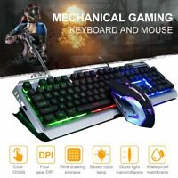 Gaming Ergonomic LED Backlit Keyboard 4000DPI Mouse Suit For Win10 PS4 PC Laptop