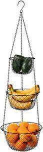 3 Tier Wire Hanging Kitchen Basket Fruit Vegetable Organizer Plant Storage Black