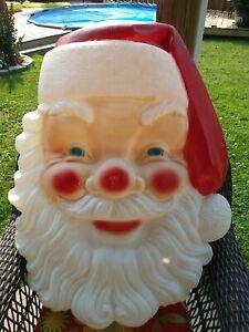 "VTG Empire Blow Mold Santa Face Plastic Lighted Xmas Large 33""x24"" Santa Head"
