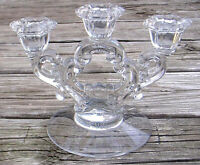 Vintage Three Arm Candle Holder Clear Glass with Scroll Design