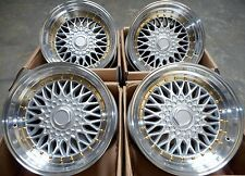 "15"" DARE SILVER POLISHED ALLOY WHEELS 4X100 FITS BMW 3 SERIES E30 VW POLO & GOLF"