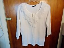 Womens Cable & Gauge Size M 3/4 Sleeve Ruffled Front / Neckline White Top