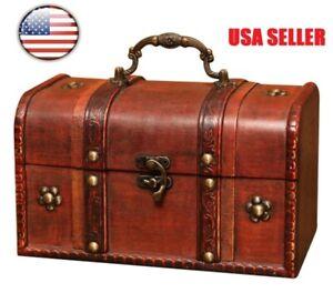 Wooden Storage Box Retro Treasure Chest Vintage Jewelry Trinket Box Organizer US