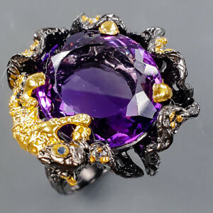 One of a kind 14ct+  Amethyst Ring Silver 925 Sterling  Size 7.5 /R178319
