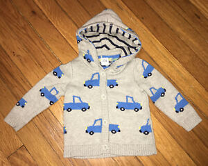 Baby Gap Boys GRAY Cardigan Cotton Hooded Blue TRUCK Sweater 6 - 12 months