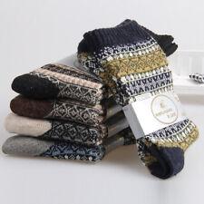 Men Wool Socks Thicken Knitted Thermal Winter Socks Dress Multi-color 2 Pairs