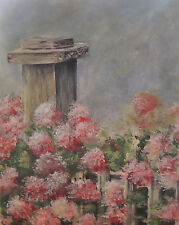 Fence Post and pink Hydrangeas flowers 8 x 10 print of original acrylic painting