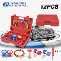 "R134a Dual Manifold Gauge Set AC A/C 5FT w/Color Hose Air Conditioner HVAC 60"""
