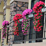 Artificial Fake Silk Violet Orchid Flower Rattan Plant Hanging Wall Basket Decor