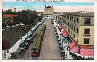 Pacific Ave. and City Hall, Long Beach, California, Early Postcard, Unused
