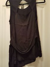 BNWT RIVER ISLAND BLACK WRAP STYLE TOP WITH GOLD TIE DETAIL AT SIDE - SIZE 14