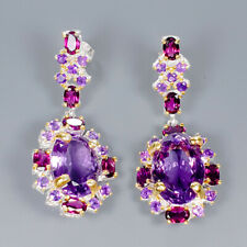 Vintage30ct+ Natural Amethyst 925 Sterling Silver Earrings /E35975