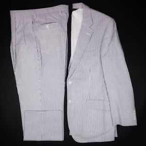 New Seersucker Suit 41R Jos A Bank Blue Striped Stays Cool Cotton Pleated Size