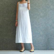 UK Lady Cotton Linen Slip Strappy Loose Sleeveless Petticoat Underdress Dress