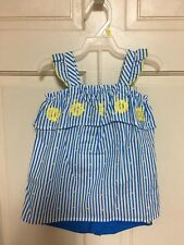Girls Clothing Shorts Set Blue And White Yellow Flowers Toddler Outfit