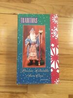"""Traditions Old World Porcelain Collectible Santa Claus 8"""" St Nick Blue Coat"""