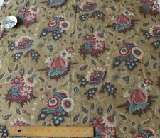 French Antique 18thC HandBlocked Cotton/Linen Fabric~Exotic Indienne Motif~50X34