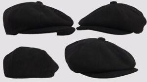 BLACK 8 PANEL,BAKER BOY,NEWSBOY,PEAKY BLINDER 1920S WOOL FLAT CAP BLACK