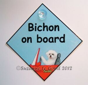 Bichon Frise art sign dog on board car from original painting by Suzanne Le Good