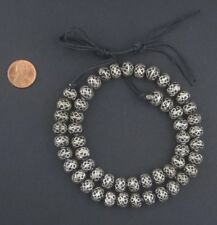 Fancy Berber Silver Bicone Beads 8x10mm Morocco African Round White Metal